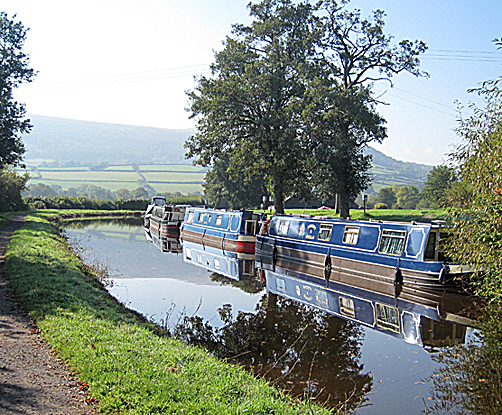 Blue boats on Brecon & Monmouth Canal, Brecon Beacons National Park