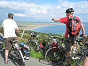 Cycling above Hell's Mouth, North Wales