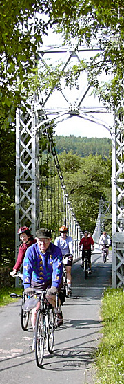 Cyclists on Llanstephan bridge, Mid Wales