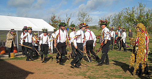 Morris men dancing for Apple Day in Herefordshire