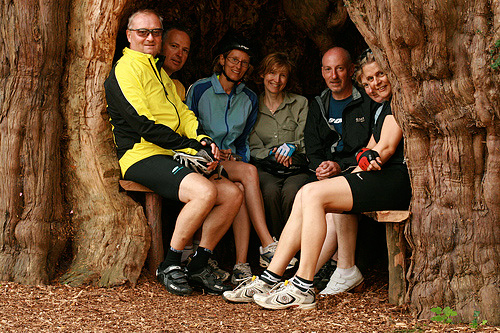 Cyclists sitting in the yew tree at Much Marcle church.