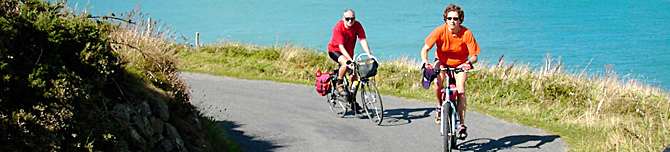 Cyclists cycling in Pembrokeshire